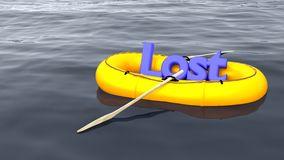A palavra perdeu no barco de borracha apenas no oceano Imagens de Stock Royalty Free