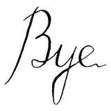 Palavra preto e branco monocromática do adeus que rotula o vetor isolado tipográfico Imagens de Stock Royalty Free