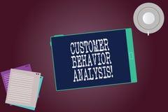 Palavra que escreve a análise do comportamento do cliente do texto Conceito do negócio para o comportamento de compra dos consumi ilustração royalty free
