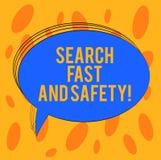 Palavra que escreve a busca do texto rápida e a segurança Conceito do negócio para consultar rapidamente com o oval da placa da p fotografia de stock