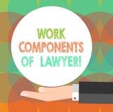 Palavra que escreve componentes do trabalho do texto do advogado Conceito do negócio para acordos Hu das decisões dos documentos  ilustração do vetor