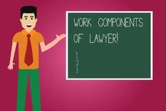 Palavra que escreve componentes do trabalho do texto do advogado Conceito do negócio para o homem dos acordos das decisões dos do ilustração royalty free