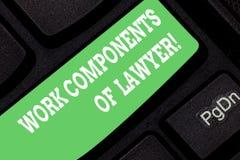Palavra que escreve componentes do trabalho do texto do advogado Conceito do negócio para o teclado dos acordos das decisões dos  ilustração stock