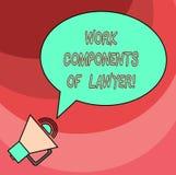 Palavra que escreve componentes do trabalho do texto do advogado O conceito do negócio para acordos das decisões dos documentos d ilustração royalty free