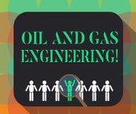 Palavra que escreve a engenharia do petróleo e gás do texto Conceito do negócio para a lupa do coordenador de processo industrial ilustração royalty free