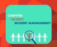 Palavra que escreve a gestão do incidente da segurança informática do texto Conceito do negócio para a lupa analysisaging da tecn ilustração do vetor