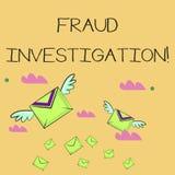 Palavra que escreve a investigação da fraude do texto Conceito do negócio para o processo de determinar se um embuste ocorreu mui ilustração do vetor