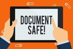 Palavra que escreve o cofre forte do documento de texto O conceito do neg?cio para para manter seu documento importante e os arti ilustração stock