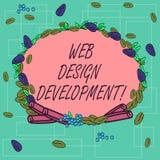 Palavra que escreve o desenvolvimento do design web do texto O conceito do negócio para Web site tornando-se para hospedar atravé ilustração do vetor