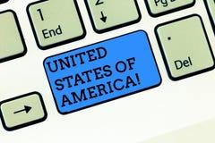 Palavra que escreve o Estados Unidos da América do texto Conceito do negócio para o país na chave de teclado principal norte do W fotografia de stock royalty free
