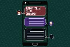 Palavra que escreve o negócio Team Brain Storming do texto Conceito do negócio para o mensageiro móvel da reunião de funcionament ilustração stock
