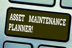Palavra que escreve o planejador da manutenção de ativo do texto Conceito do negócio para que a capacidade execute planos de manu imagem de stock