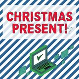 Palavra que escreve o presente de Natal do texto Conceito do negócio para apresentado como um presente dado em comemoração da cor ilustração do vetor