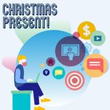 Palavra que escreve o presente de Natal do texto Conceito do negócio para apresentado como um presente dado em comemoração do hom ilustração royalty free