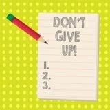 A palavra que escreve o texto Don T dá acima O conceito do negócio para Keep que tenta até que você suceda segue seus objetivos d ilustração do vetor
