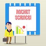 Palavra que escreve o texto Rocket Science Conceito do neg?cio para a atividade dif?cil que voc? precisa de ser inteligente fazer ilustração do vetor