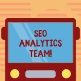 Palavra que escreve o texto Seo Analytics Team Conceito do negócio para mostrar quem para fazer o processo que afeta a Web em lin ilustração do vetor