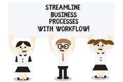 Palavra que escreve processos de negócios da aerodinâmica do texto com trabalhos Conceito do negócio para o processo social três  ilustração do vetor
