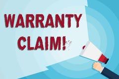 Palavra que escreve a reivindicação da garantia do texto Conceito do negócio para o direito de um cliente para a substituição ou  ilustração stock