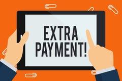 Palavra que escreve a texto o pagamento extra Conceito do negócio para o dinheiro extra do pagamento além do que seu pagamento de ilustração royalty free