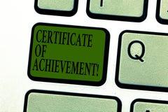 Palavra que redige o certificado do texto da realização Conceito do negócio para para certificar que uma demonstração feita excep imagem de stock