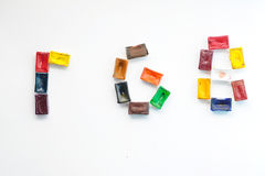 Palavra RGB da cubeta da aquarela Foto de Stock