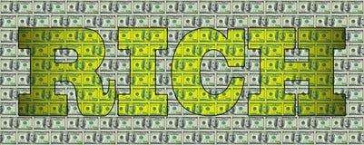 A palavra RICOS no fundo dos dólares ilustração stock
