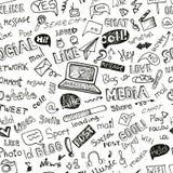 Palavra social dos meios, teste padrão sem emenda do ícone doodle Fotos de Stock Royalty Free