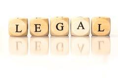Palavra soletrada legal, letras dos dados com reflexão Imagens de Stock Royalty Free
