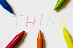 A palavra THINK escrito no papel Imagem de Stock Royalty Free