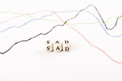 Palavra triste escrita com cubos de madeira Imagem de Stock