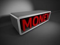 Palavra vermelha do DINHEIRO 3d no fundo escuro Conceito do negócio Imagens de Stock