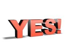 palavra YES do símbolo 3d Foto de Stock