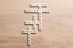 Palavras-chaves conceptuais na tabela de madeira com os elementos do jogo que fazem palavras cruzadas Foto de Stock