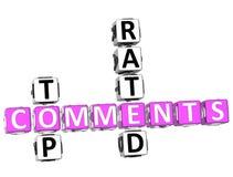 Palavras cruzadas avaliados superiores dos comentários Imagens de Stock Royalty Free