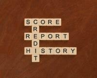 Palavras cruzadas com crédito das palavras, história, relatório, contagem cred imagens de stock