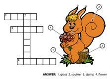 Palavras cruzadas da cor do vetor Esquilo que senta-se em um coto de árvore Foto de Stock