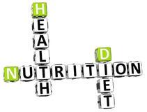 palavras cruzadas da dieta da saúde da nutrição 3D Foto de Stock