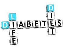 palavras cruzadas da dieta da vida do diabetes 3D Imagem de Stock