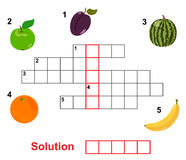 Palavras cruzadas da fruta Imagem de Stock