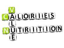 palavras cruzadas da nutrição das calorias do valor 3D Imagem de Stock