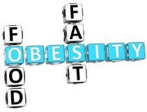 Palavras cruzadas da obesidade do fast food Fotografia de Stock
