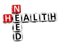 palavras cruzadas da saúde da necessidade 3D Imagem de Stock Royalty Free
