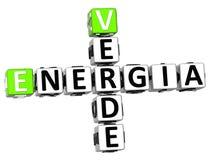 palavras cruzadas de 3D Energia Verde Fotografia de Stock Royalty Free