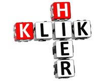 palavras cruzadas de 3D Klik Hier Foto de Stock