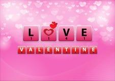 Palavras cruzadas do amor no fundo do bokeh do coração Imagem de Stock Royalty Free