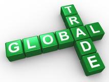 Palavras cruzadas do comércio global Imagens de Stock