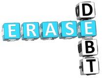 palavras cruzadas do débito do Erase 3D Fotos de Stock
