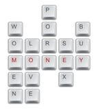 Palavras cruzadas do dinheiro Imagens de Stock