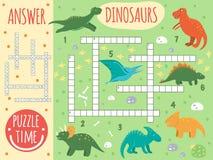 Palavras cruzadas do dinossauro do vetor ilustração do vetor